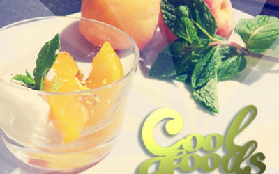Cooling Ayurvedic Foods: Roasted Peaches with Coconut, Cardamom & Mint