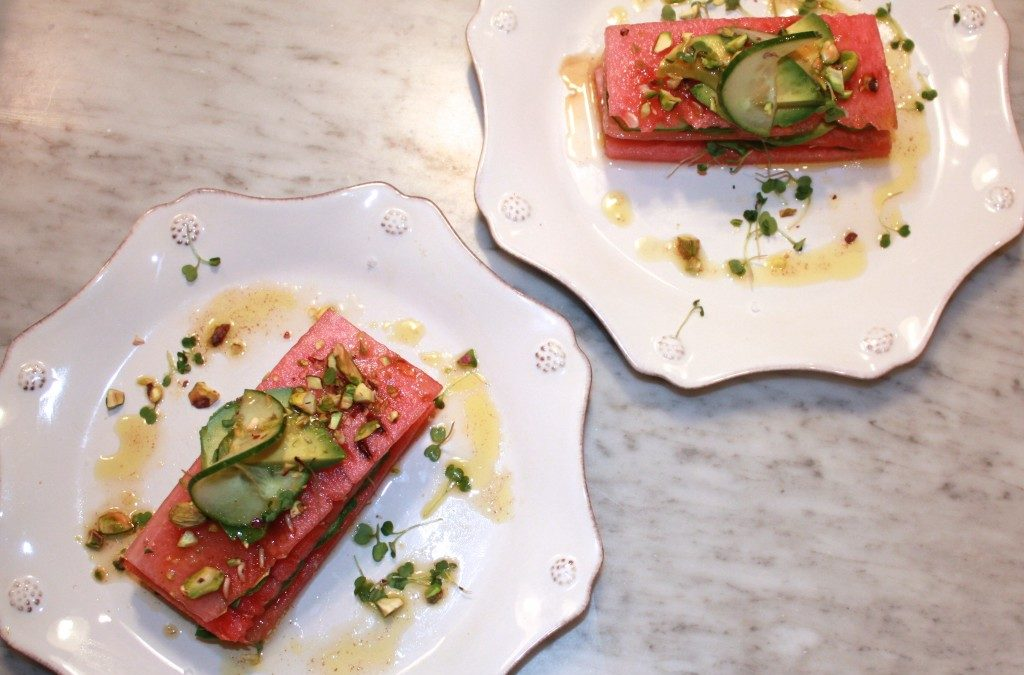 Summerlicious Stacked Watermelon Salad with Coriander-Tahini Dressing