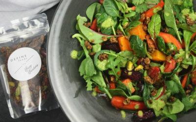 Warm Autumn Salad with Pistachio-Cilantro Dressing and Granola Crunch