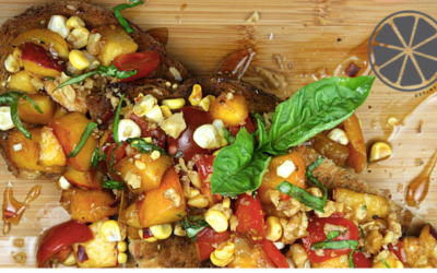 May Recipe of the Month: Summer Peach & Tomato Bruschetta