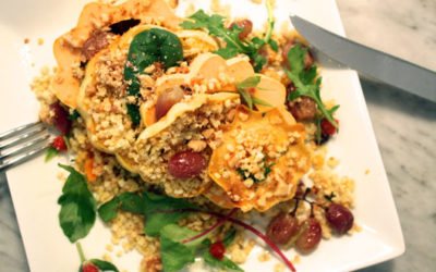 Millet with Maple Roasted Acorn Squash, Grapes + Autumn Leaves